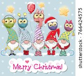 greeting christmas card with... | Shutterstock .eps vector #766424575