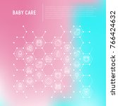 baby care concept in honeycombs ...   Shutterstock .eps vector #766424632