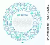 car service concept in circle... | Shutterstock .eps vector #766425262
