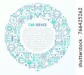 car service concept in circle... | Shutterstock .eps vector #766425262