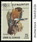 Small photo of Umm Al Quwain - stamp 1968, Multicolor Edition Fauna, Birds, Series Birds of prey, Peregrine Falcon, Falco peregrinus