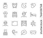 sleep set of vector icons line...   Shutterstock .eps vector #766438768