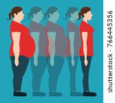 figures of women thick and thin.... | Shutterstock .eps vector #766445356