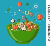 fresh vegetables salad vector...   Shutterstock .eps vector #766445965