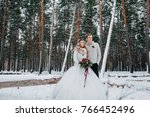 bride and groom with a rustic... | Shutterstock . vector #766452496
