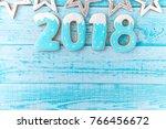 gingerbread cookies  snowflakes ... | Shutterstock . vector #766456672