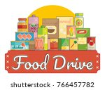 food drive charity movement... | Shutterstock .eps vector #766457782