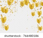 gold balloons and confetti... | Shutterstock .eps vector #766480186
