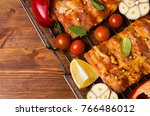 raw ribs in marinade with... | Shutterstock . vector #766486012