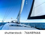 sailing on a sailing yacht on... | Shutterstock . vector #766489666