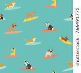 dog surfers pattern  vector... | Shutterstock .eps vector #766491772
