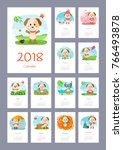 calendar 2018 year with dog.... | Shutterstock .eps vector #766493878
