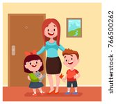 happy mother with two kid in... | Shutterstock .eps vector #766500262