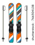 ski equipment with ski board... | Shutterstock .eps vector #766504138