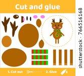 illustration. cute deer in...   Shutterstock . vector #766516168