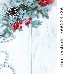 christmas wooden background... | Shutterstock . vector #766524736
