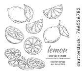 lemon fruits vector set on... | Shutterstock .eps vector #766526782