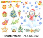 watercolor christmas stickers.... | Shutterstock . vector #766533652