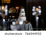 wedding cake at reception | Shutterstock . vector #766544932