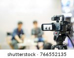 Camera show viewfinder image catch motion in interview or broadcast wedding ceremony, catch feeling, stopped motion in best memorial day concept.Video Cinema From dslr camera.video cinema production . - stock photo
