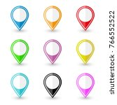 set of location pin icons.... | Shutterstock .eps vector #766552522