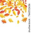 windy flying oak leaf abstract... | Shutterstock .eps vector #766552636