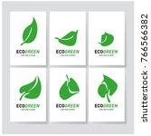 green leaf eco symbol set ... | Shutterstock .eps vector #766566382