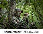 spring turkey hunting | Shutterstock . vector #766567858