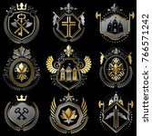 set of luxury heraldic vector... | Shutterstock .eps vector #766571242