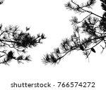 Realistic Pine Tree Silhouette...