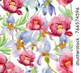 seamless pattern with peony...   Shutterstock . vector #766574596