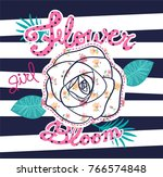 rose flower with cute floral... | Shutterstock .eps vector #766574848