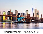 new york  usa. view of brooklyn ... | Shutterstock . vector #766577512