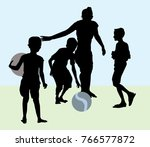 children are playing with ball  ... | Shutterstock .eps vector #766577872