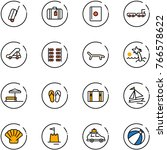 line vector icon set   suitcase ... | Shutterstock .eps vector #766578622