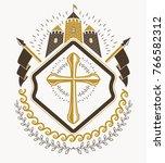 heraldic signs vector vintage... | Shutterstock .eps vector #766582312