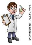 a cartoon scientist professor... | Shutterstock .eps vector #766597996