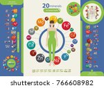 human health and minerals. 20... | Shutterstock .eps vector #766608982