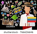 colombia concept background ... | Shutterstock .eps vector #766626646