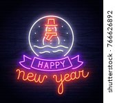snowman neon sign. neon sign.... | Shutterstock .eps vector #766626892