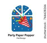 party paper popper flat... | Shutterstock .eps vector #766628266