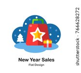 new year sales bag flat... | Shutterstock .eps vector #766628272