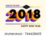 2018 text composition in retro... | Shutterstock .eps vector #766628605