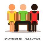 multicultural three people sit... | Shutterstock .eps vector #766629406