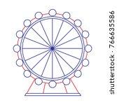 attraction ferris wheel... | Shutterstock .eps vector #766635586