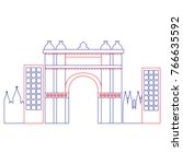 triumphal arch of barcelona...   Shutterstock .eps vector #766635592