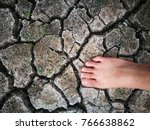 foot on dry cracked earth.    Shutterstock . vector #766638862