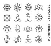 collection of yoga icons ... | Shutterstock .eps vector #766642192