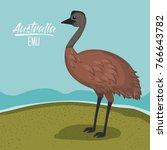 australia emu poster with... | Shutterstock .eps vector #766643782