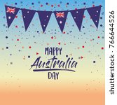 happy australia day poster with ... | Shutterstock .eps vector #766644526